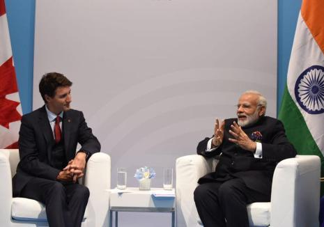 PM Mr. Narendra Modi with Canadian PM Mr. Justin Trudeau on the sidelines of G20 Summit in Hamburg, Germany on July 7, 2017