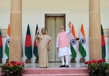 The Prime Minister, Mr. Narendra Modi with the Prime Minister of Bangladesh Sheikh Hasina.