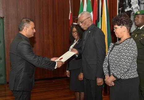 H.E. Dr K J Srinivas, High Commissioner of India to Guyana presenting his credential documents to H.E. Mr David A Granger, President of the Cooperative Republic of Guyana on 14 August, 2019