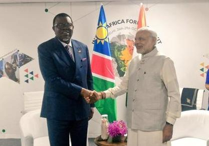 Indian Prime Minister meeting with Namibian President during IAFS-3