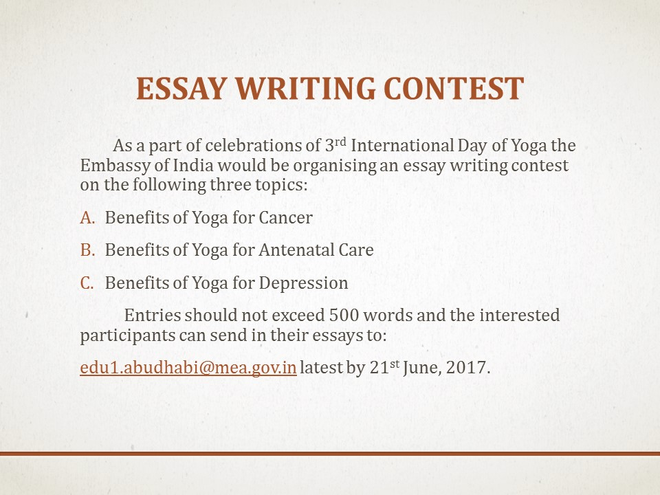 essay writing competitions in india 2014 31 free writing contests: legitimate competitions with the is a mini essay writing contest at biopagecom can i join this writing contests i live in india.