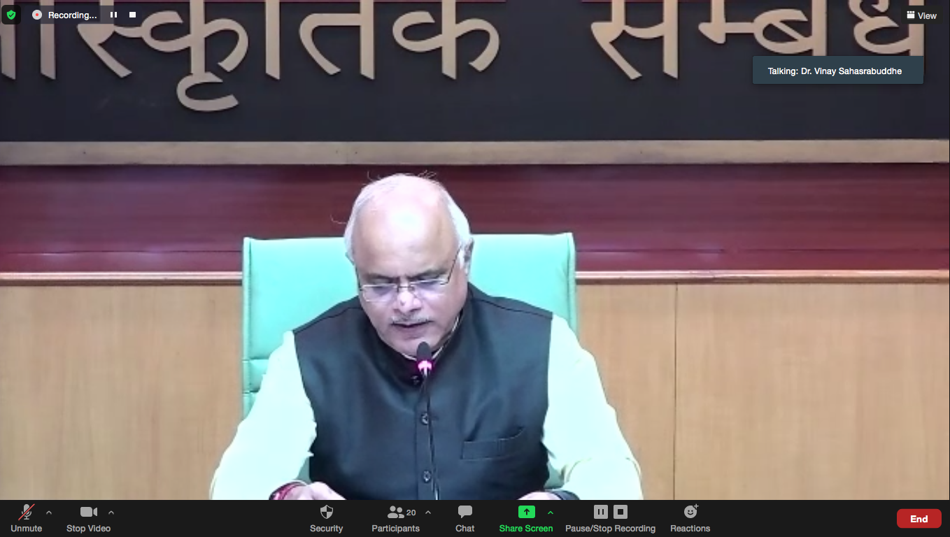 President ICCR addressing participants from 6 countries in Hindi Diwas Webinar