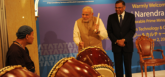 Prime Minister inaugurates TCS Japan Technology and Cultural Academy Soukoukai by beating ceremonial Japanese Drum