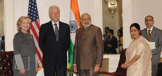 Former US President Bill Clinton and former US Secretary of State Hillary Clinton call on Prime Minister in New York