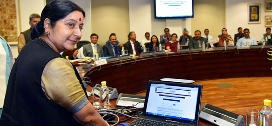 External Affairs Minister launches MADAD - Online Consular Grievances Monitoring System in New Delhi