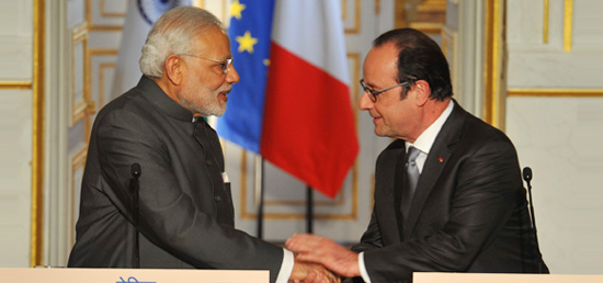 India and France agree to further deepen and strengthen bilateral ties based on shared principles and values.