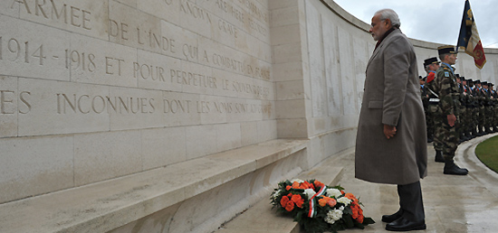 Prime Minister pays homage to the Indian Soldiers at WWI Memorial for Indian soldiers in Neuve Chapelle, France