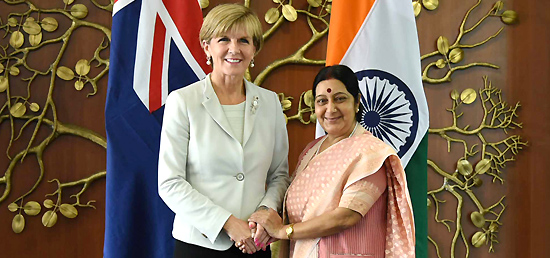 ​External Affairs Minister meeting with Foreign Minister Julie Bishop MP of Australia in New Delhi