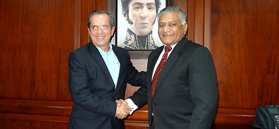 Minister of State for External Affairs meets Foreign Minister of Ecuador Ricardo Patiño Aroca in Quito