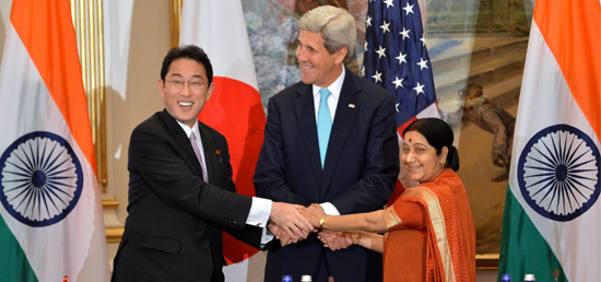 External Affairs Minister with U.S. Secretary of State John Kerry and Japanese Foreign Minister Fumio Kishida at the inaugural US-India-Japan Trilateral Ministerial on the sidelines of the 70th UN General Assembly in New York