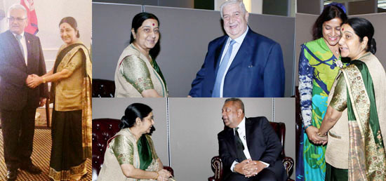 External Affairs Minister meets ​her counterparts on the sidelines of 70th session of UNGA in New York