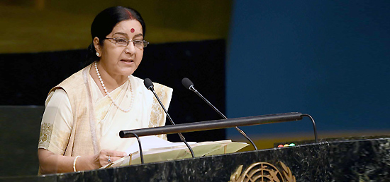 External Affairs Minister addressing the 70th session of United Nations General Assembly