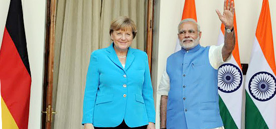 Prime Minister with Chancellor Angela Merkel of Federal Republic of Germany at Hyderabad House in New Delhi