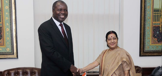 External Affairs Minister meets Abdullah Albert Toikeusse, Minister of Foreign Affairs of Cote d'Ivoire in Delhi