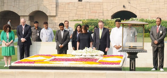 John Key, Prime Minister of New Zealand lays wreath at the samadhi of Mahatma Gandhi at Rajghat, New Delhi