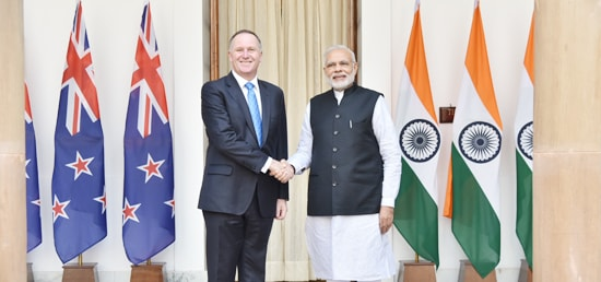 Prime Minister meets John Key, Prime Minister of New Zealand in New Delhi during his three day visit to India
