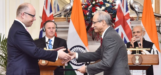 Prime Minister and John Key, Prime Minister of New Zealand witness Signing of Agreement between India and New Zealand in New Delhi