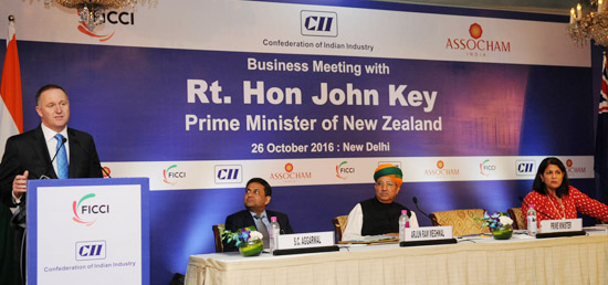John Key, Prime Minister of New Zealand addresses at Business Meeting in New Delhi during his three day visit to India