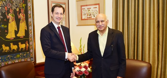 Alexander De Croo, Deputy Prime Minister of Belgium meets M J Akbar, Minister of State for External Affairs in New Delhi