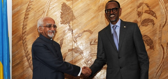 Vice President calls on President of Rwanda Paul Kagame in Kigali during his three day visit to Rwanda