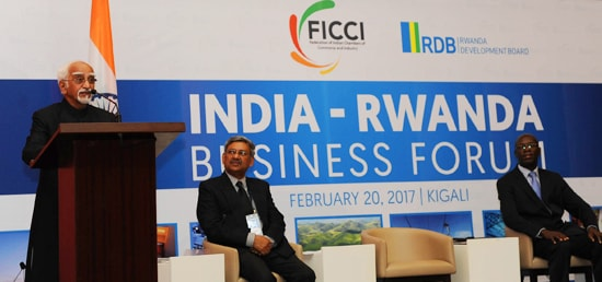Vice President speaks at India Rwanda Business Forum in Kigali during his three day visit to Rwanda