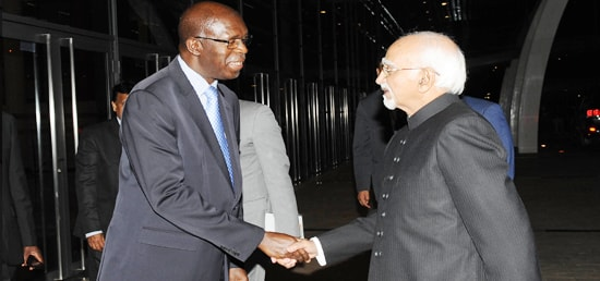 Prime Minister of Rwanda, Mr. Anastase Murekezi calls on Vice President, Shri M. Hamid Ansari during his three day visit to Rwanda