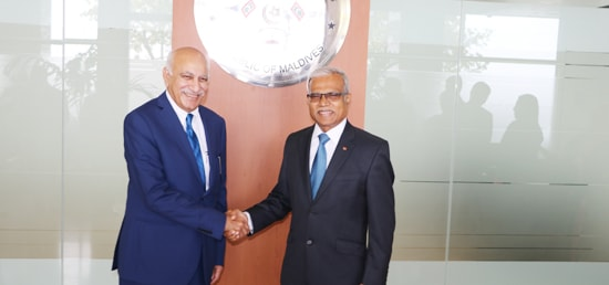M J Akbar, Minister of State for External Affairs meets Dr. Mohamed Asim, Minister of Foreign Affairs for Maldives