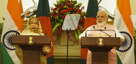 ''India has always stood for the prosperity of Bangladesh and its people. We are a long-standing and trusted development partner of Bangladesh'' - Prime Minister [ph]In Pic: ​Prime Minister addressing the media during the State visit of Prime Minister of Bangladesh to India [ph]Photo Courtesy: Lalit Kumar[/ph]