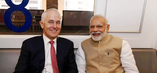 Prime Minister and Malcolm Turnbull, Prime Minister of Australia travelling to Akshardham Temple in Delhi Metro