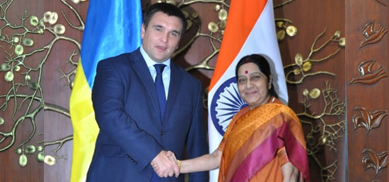 External Affairs Minister meets Pavlo Klimkin, Minister of Foreign Affairs of Ukraine in New Delhi