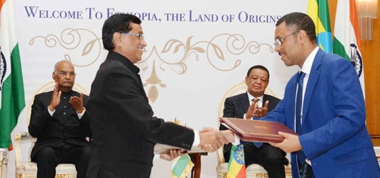 President and Dr. Mulatu Teshome, President of Ethiopia witness signing of Agreements in Addis Ababa