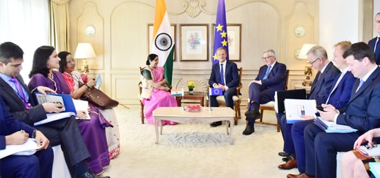 External Affairs Minister meets Donald Franciszek Tusk, President of the European Council and Jean-Claude Juncker, President of the European Commission in New Delhi