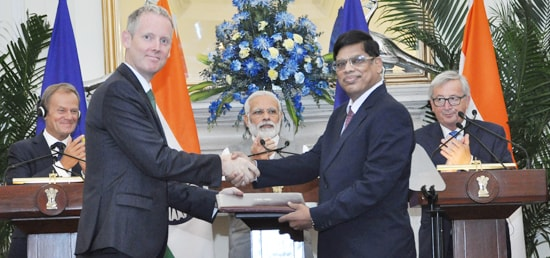 Prime Minister with Donald Franciszek Tusk, President of the European Council and Jean-Claude Juncker, President of the European Commission witness Exchange of Agreements on the sidelines of 14th India-EU Summit in New Delhi