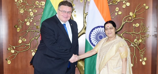 External Affairs Minister meets Linas Antanas Linkevičius, Minister of Foreign Affairs of Lithuania in New Delhi