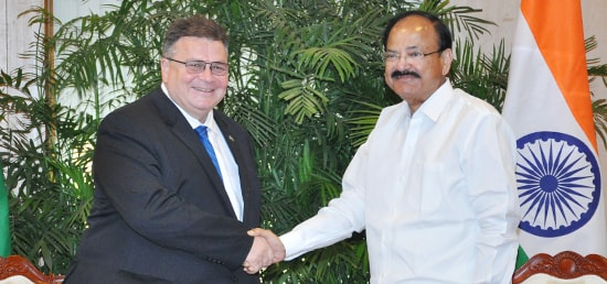 Linas Antanas Linkevičius, Minister of Foreign Affairs of Lithuania calls on Vice President in New Delhi