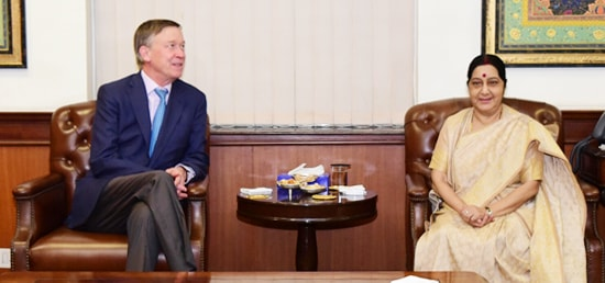 External Affairs Minister meets John Hickenlooper, Governor of Colorado in New Delhi