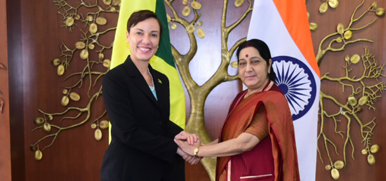 External Affairs Minister meets Kamina Johnson Smith, Minister of Foreign Affairs and Foreign Trade of Jamaica in New Delhi ​