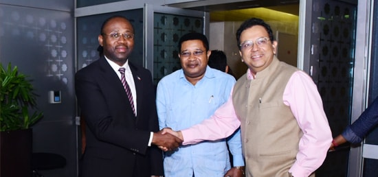 Agapito Mba Mokuy, Minister of Foreign Affairs and Cooperation of The Republic of Equatorial Guinea arrives in New Delhi