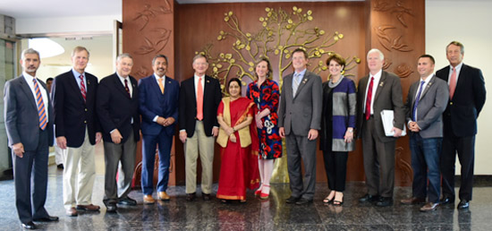 External Affairs Minister meets 9-member US Congressional Delegation from the House Committee on Science, Space and Technology led by its Chairman Lamar Smith