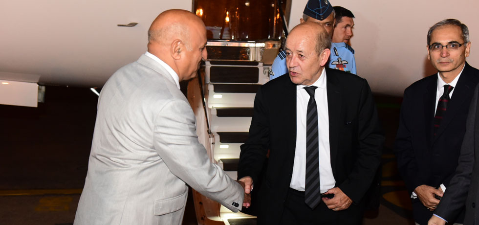 Jean-Yves Le Drian, Minister for Europe and Foreign Affairs of France arrives in New Delhi