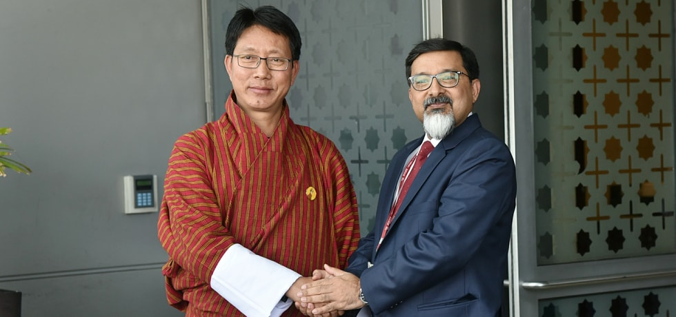 Lyonpo Damcho Dorji, Minister for Foreign Affairs of Bhutan arrives in New Delhi