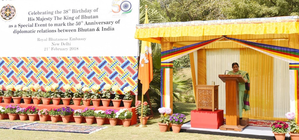 External Affairs Minister delivers her remarks at celebration of 50th anniversary of the establishment of diplomatic relations between India and Bhutan