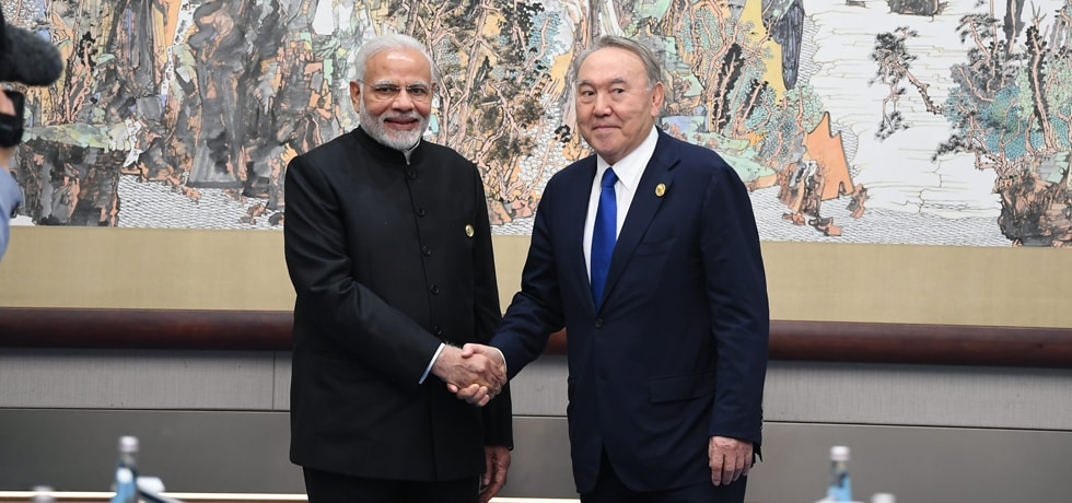 Prime Minister meets Nursultan Abishevich Nazarbayev, President of Kazakhstan on the sidelines of SCO Summit 2018 in Qingdao