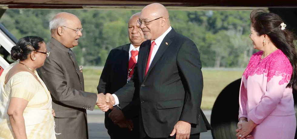 President is welcomed by Desire Delano Bouterse, President of Suriname on his arrival to Paramaribo
