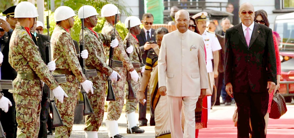 President inspects Guard of Honour during his Ceremonial Welcome at Presidential Palace in Suriname