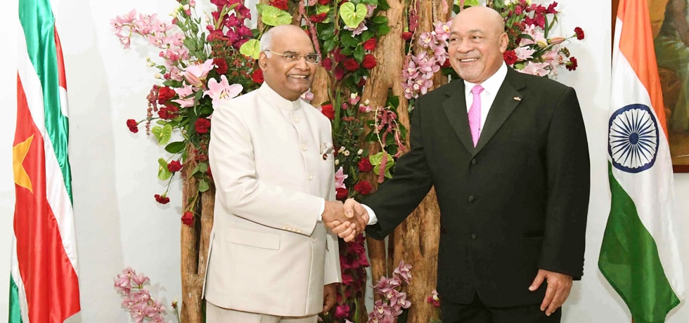 President meets Desire Delano Bouterse, President of Suriname at Presidential Palace in Suriname