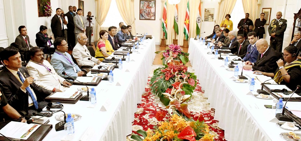 President and Desire Delano Bouterse, President of Suriname hold Delegation Level talks at Presidential Palace in Suriname