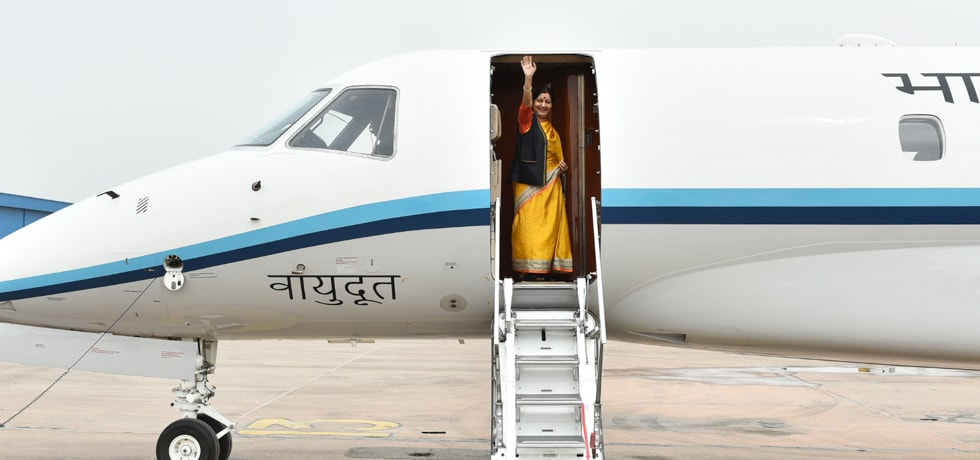 External Affairs Minister departs from New Delhi on her 4-day Visit to Republic of Kazakhstan, Kyrgyz Republic and Republic of Uzbekistan
