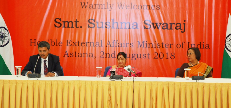 External Affairs Minister addresses Indian Community in Astana during her visit to Kazakhstan