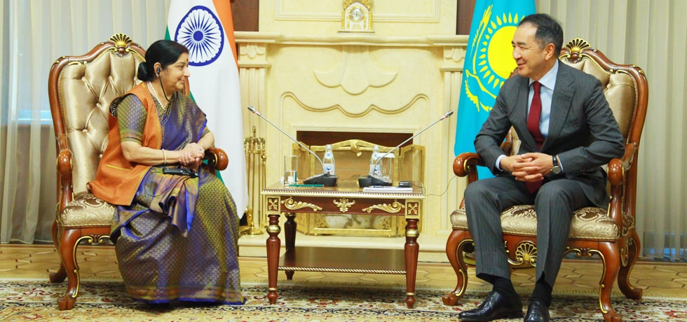 External Affairs Minister calls on Bakytzhan Sagintayev, Prime Minister of Kazakhstan in Astana